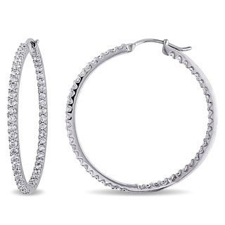 Miadora Signature Collection 14k White Gold 2ct TDW Diamond Hoop Earrings
