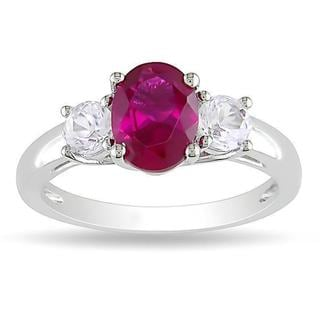 Miadora Sterling Silver Created Ruby and White Sapphire 3-stone Ring