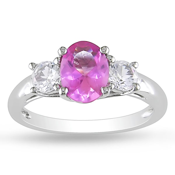 Miadora Sterling Silver Created Pink and White Sapphire 3-stone Ring