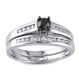 Miadora 10k Gold 1/2ct TDW Black and White Diamond Bridal Ring Set