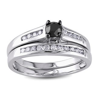 Miadora 10k Gold 1/2ct TDW Black and White Diamond Bridal Ring Set