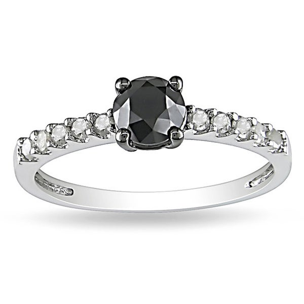 Miadora 10k White Gold 1ct TDW Black and White Diamond Ring (G-H, I2-I3)