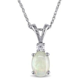 Miadora 10k White Gold Opal and Diamond Fashion Necklace