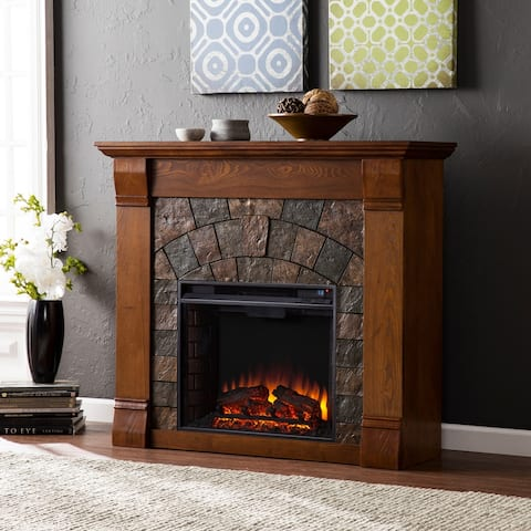 Carbon Loft Fleming Antique Oak Electric Fireplace
