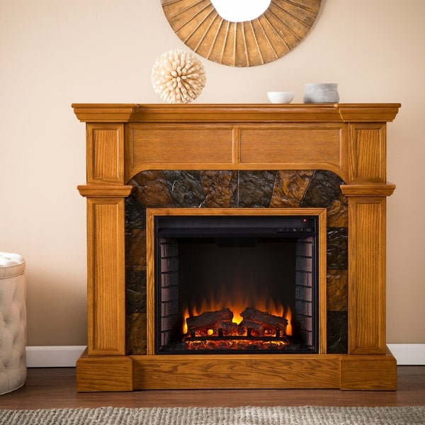 shop copper grove august oak electric fireplace free shipping rh overstock com electric fireplace tv stand overstock