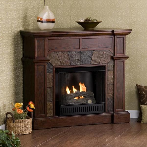 Upton Home Hollandale Espresso Gel Fireplace Free