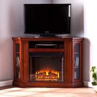 Gracewood Hollow Wallis Mahogany Media Console Electric Fireplace