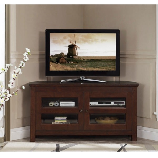 44-inch Brown Wood Corner TV Stand - Free Shipping Today ...