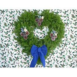 Hearth-shaped 24-inch Fresh Balsam Wreath - Thumbnail 1