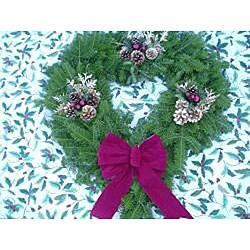 Hearth-shaped 24-inch Fresh Balsam Wreath - Thumbnail 2