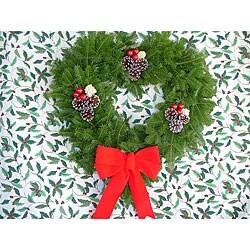 Hearth-shaped 24-inch Fresh Balsam Wreath