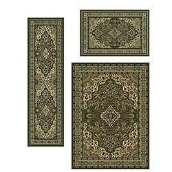 Admire Home Living Traditional Caroline Medallion Sage (Set of 3) - 5'5 x 7'7