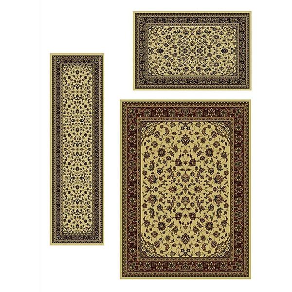 Admire Home Living Traditional Caroline Sarouk Ivory Rugs (Set of 3)
