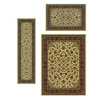 Admire Home Living Traditional Caroline Sarouk Ivory Rugs (Set of 3)