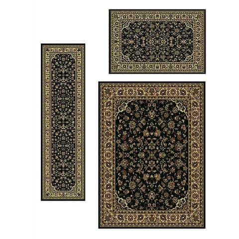 Admire Home Living Traditional Caroline Sarouk Black Rugs (Set of 3)