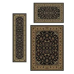 Admire Home Living Traditional Caroline Sarouk Black Rugs (Set of 3)