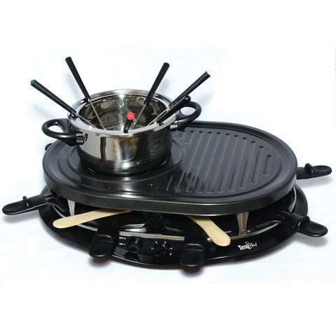 Total Chef TCRF08BN 8-person Raclette Party Grill and Fondue Set with 8 Small Pans
