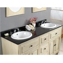 OVE Decors Kenneth 60-inch Black Granite Antique White Double Sink Bathroom Vanity - Thumbnail 1