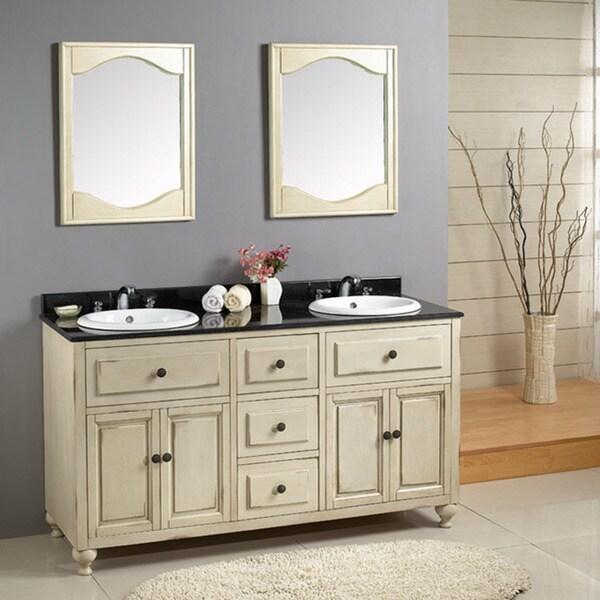 Ove decors kenneth 60 inch black granite antique white - Antique white double sink bathroom vanities ...