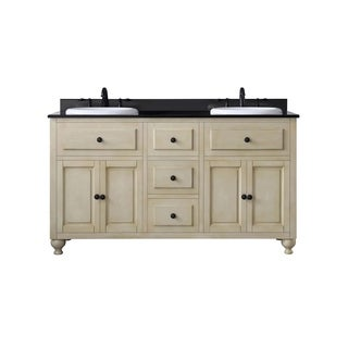 OVE Decors Kenneth 60-inch Black Granite Antique White Double Sink Bathroom Vanity