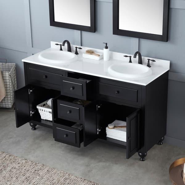Ove Decors Kensington 60 In Black Double Sink Bathroom