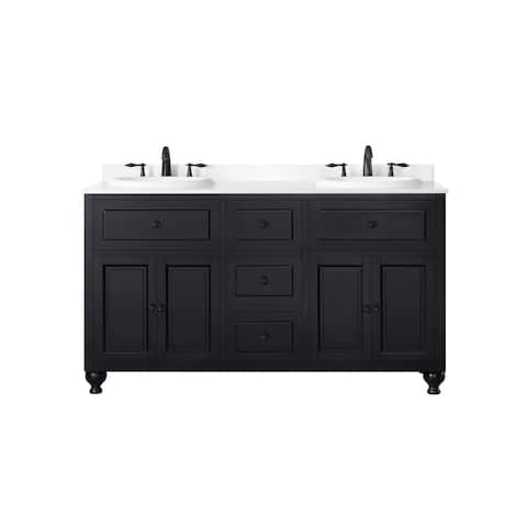 OVE Decors Kensington 60 in Black Double Sink Bathroom Vanity with Marble Top