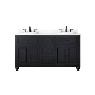 OVE Decors Keith 60 Inch Double Sink Bathroom Vanity With Marble Top