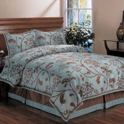 Bella Floral King-size 4-piece Comforter Set - Free Shipping Today ...