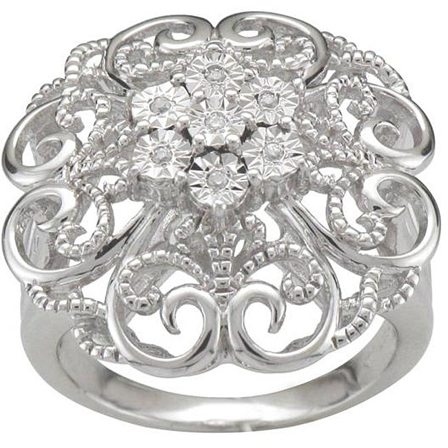 Unending Love Sterling Silver Diamond Accent Floral Design Ring