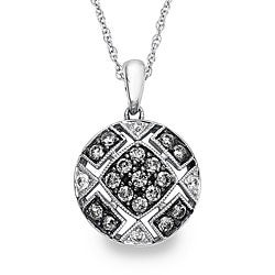 SilverMist Sterling Silver 1/2ct TDW Grey and White Diamond Necklace By Ever One