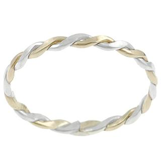 Journee Collection Sterling Silver and Goldfill Twisted Ring