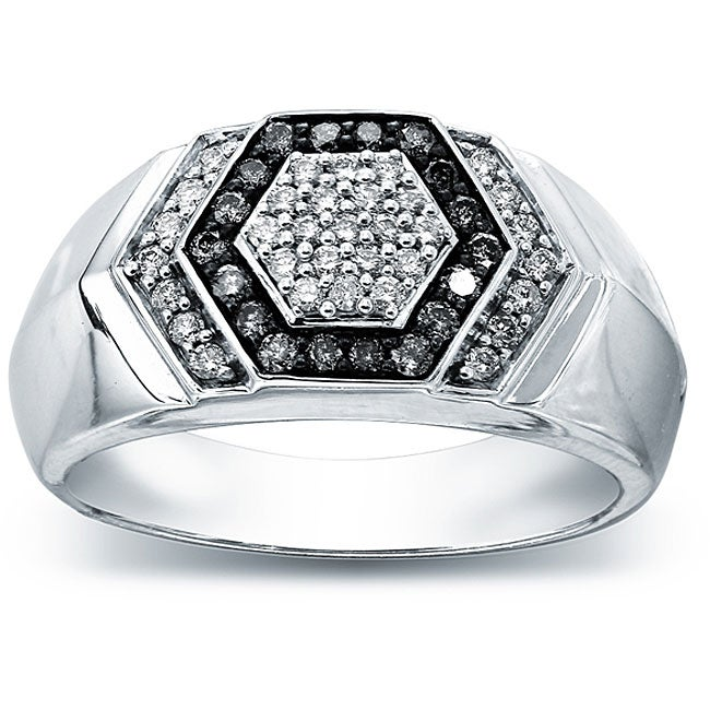 SilverMist Sterling Silver Men's 1/2ct TDW Grey and White Diamond Ring By Ever One