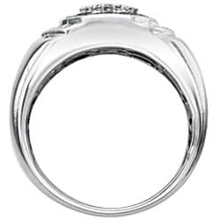 SilverMist Sterling Silver Men's 1/2ct TDW Grey and White Diamond Ring By Ever One - Thumbnail 1