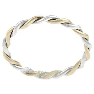 Journee Collection Two Tone Sterling Silver Handmade Twist Ring