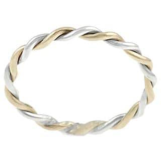 Journee Collection Two Tone Sterling Silver Handmade Twist Ring|https://ak1.ostkcdn.com/images/products/5394053/P13191702.jpg?impolicy=medium
