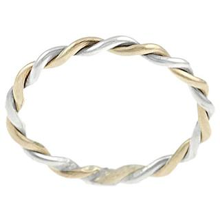 Journee Collection Two Tone Sterling Silver Handmade Twist Ring (3 options available)
