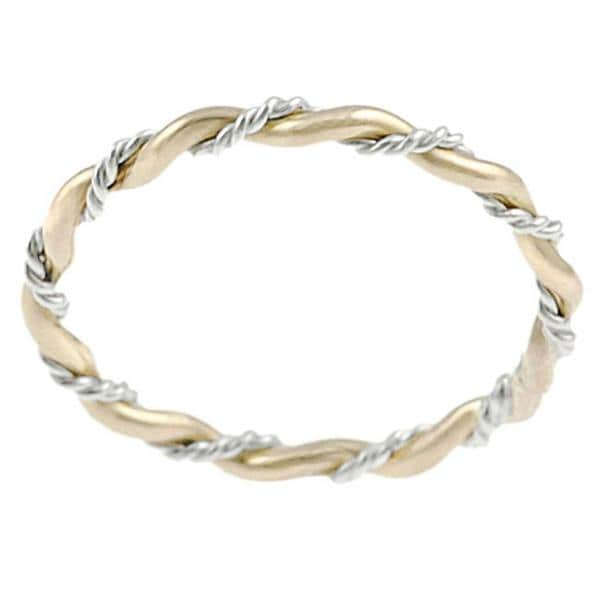 Goldfill Sterling Silver Handmade Twisted Ring Band