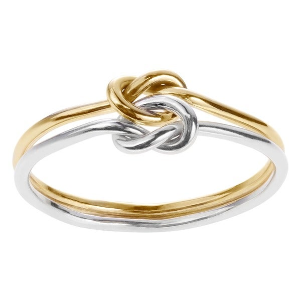 Journee Collection  Sterling Silver and Goldfill Knotted Two-piece Ring