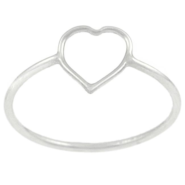 Journee Collection Sterling Silver Heart Cutout Ring