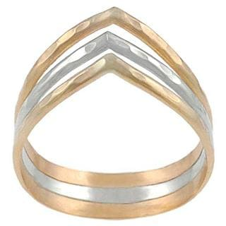Journee Collection Sterling Silver and Goldfill 3-band 'V' Ring
