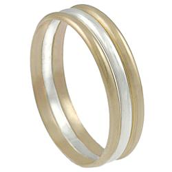Journee Sterling Silver and Gold-fill 3-band Ring - Thumbnail 1