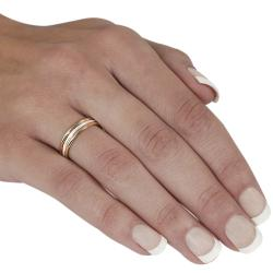 Journee Sterling Silver and Gold-fill 3-band Ring - Thumbnail 2