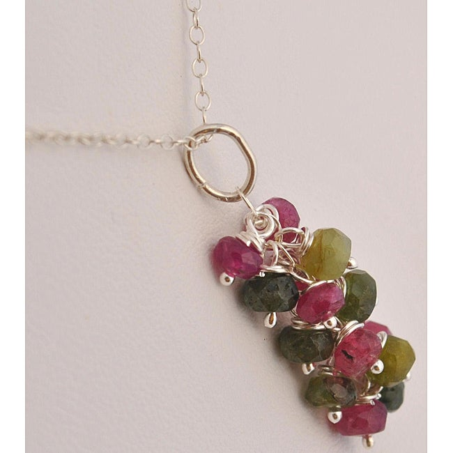 Sterling Silver Tourmaline Cascade Necklace