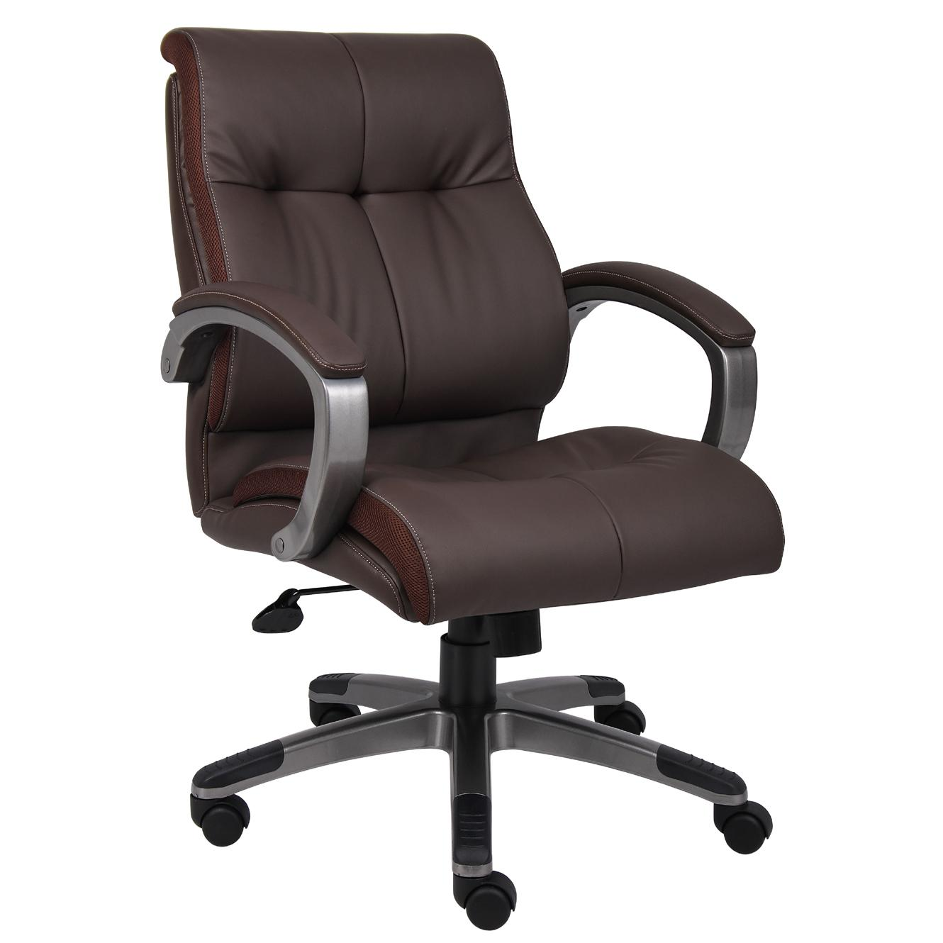 Boss Brown Leather Double Plush Mid-back Ergonomic Chair (Black - Silver Finish)