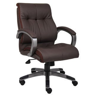 Boss Brown Leather Double Plush Mid Back Ergonomic Chair
