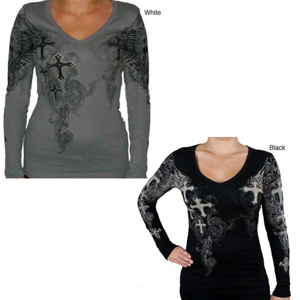 2612a0085 Shop Vocal Women's Winged Rhinestone Cross Shirt - Free Shipping ...