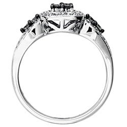 SilverMist Sterling Silver 1/2ct TDW Natural Grey and White Diamond Ring  By Ever One (H-I, I2)