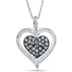 SilverMist Sterling Silver 1/2ct TDW Natural Grey/ White Diamond Heart Necklace By Ever One (H-I,I1-I2)