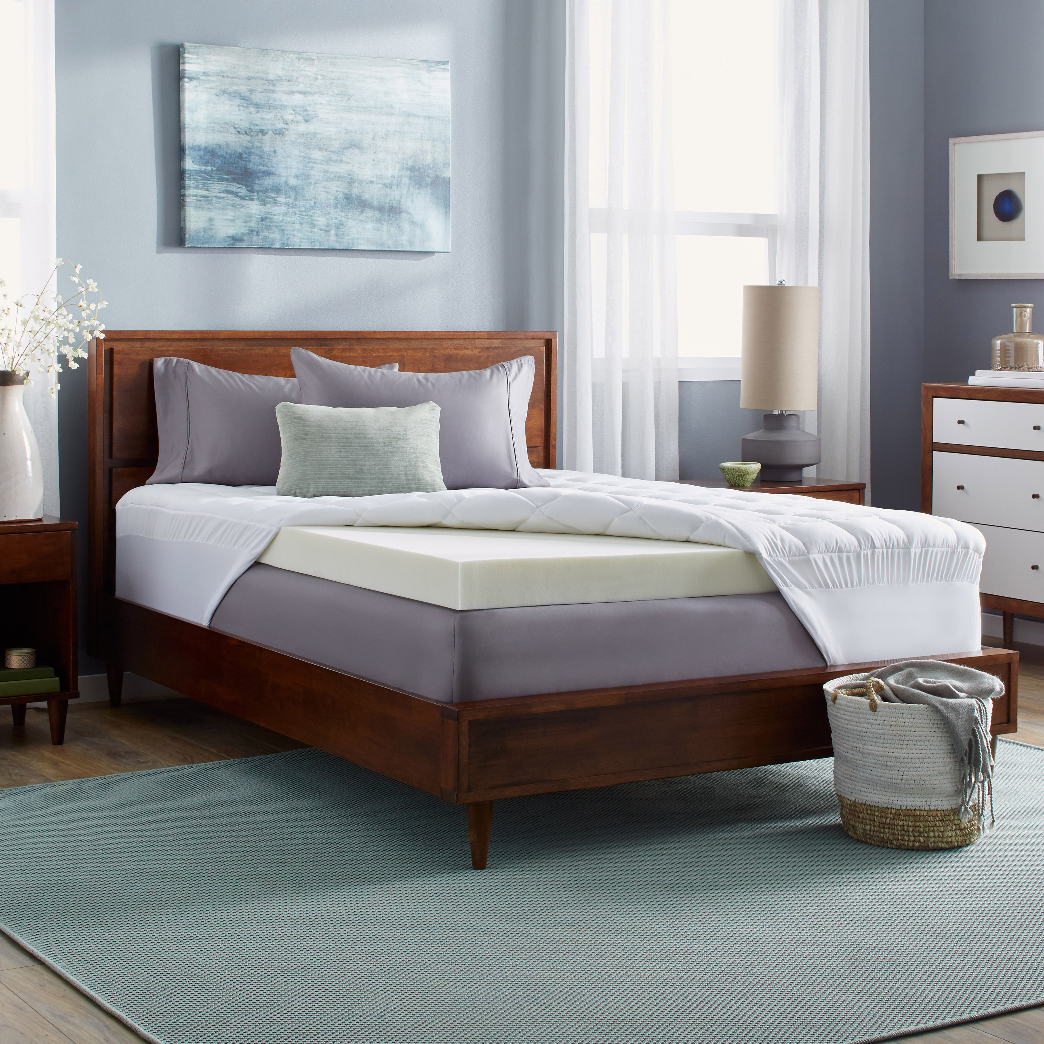 low priced 227f1 bd0ac Slumber Solutions 4-inch Memory Foam and 1.5-inch Fiber Mattress Topper