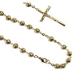 14k Goldplated Filigree Bead Rosary Necklace (Mexico)